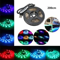 Wholesale Cable Dc Notebook - USB RGB LED Strip Light IP65 Waterproof Decorative Flexible Lights String for TV Backlight Laptop Notebook 50-200cm with USB cable DC5V