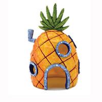 ingrosso carro armato-Hot Mini Ananas Cartoon House Casa Fish Tank Acquario Ornament Decorazioni Fuga Fuga