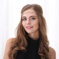 Hot Sale Tiara Rhinestone Gold Chain Leaf Hairband para Casamento Bridal Hair Accessory Mulheres Forehead Jewelry Lotes 12 Pcs