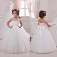 Wholesale Cheap Girls Dress Up - 2017 Cheap Sheer Jewel Neck Flower Girl Dresses Princess Tulle Long with Bow Know Lace Up Back Kids Formal Christmas Party Gowns