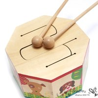 Wholesale 2016 Rushed Limited Wooden Drum Toy with Two Mallets Early Learning Educational Musical Percussion Instruments Toys Baby Kids Children Gift