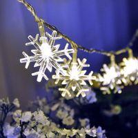batterie beleuchtete weihnachtsbeleuchtung großhandel-2 Mt 20 LED Schneeflocke String Lichterkette Batteriebetriebene Weiße Weihnachten Home Party Dekoration Urlaub Party Sternenlichter Lampe