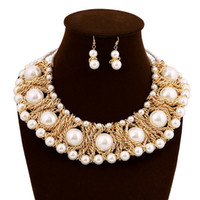 Wholesale Tungsten Ceramic Necklace - Sweet Style Imitation Pearl Beaded Crystal Leaf Golden Plated Chains Necklace Earrings Wedding Jewelry Set For Lady 2pcs set