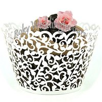 Wholesale Pearl Paper Cupcake - Free Shipping 70PCS Lace Cupcake Wrapper Laser Cut Muffin Cup Cake Cup Wrappers Pearl Paper Wedding Party Decoration Supplies
