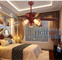 ingrosso le luci del soffitto lasciano-La luce di fan del soffitto della casa lascia le retro lampade di soffitto del fan del ristorante di stile cinese da 42inch che vivono il soffitto antico delle luci del fan