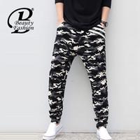 Wholesale Camouflage Cheap Clothes - Wholesale-2016 New Man Camouflage Biker Denim Jeans Men Loose Denim Cross-Pants Male Famous Brand Hip Hop Harem Pants Cheap Clothing 5XL