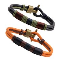Wholesale Leather Cord Bronze - 2016 New mens leather bracelets Ancient bronze leather cord bracelets vintage winding buckle bracelets free shipping