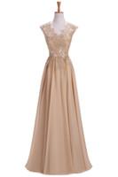 ingrosso abiti banchetti formali-A-Line Style Champagne Chiffon Ladies Banquet Dress Long Length Appliques Corpetto Abito da sera formale 2017