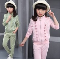 Causal Sport 120-170 Big Girls Outfits 2016 Automne Vêtements Flower Lace Jacket + Pantalons Costumes Filles Vêtements enfants Vêtements Ensembles K7779