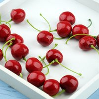 Wholesale Wholesale Fake Fruits Vegetables - New Arrival Artificial Fruits Simulation Cherry Cherries Fake Fruit and Vegetables Home Decoration Shoot Props 4137