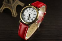 Wholesale China Brand Women Watches - Woman analog watch fashion with leather band black red blue cheap wrist luxury top brand lady watch from china