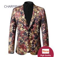 Wholesale Mens Tuxedo Coats - Fashion stage performance clothing Mens suit coat High quality 3D digital printing gold velvet fabric 1PCS wholesale groom quality mens sui