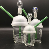 Wholesale green cup bong for sale - Group buy 14mm bongs glass Starbuck Cup with green dab concentrate glass dome and nail water pipes bongs water pipes bongs joint oil rigs hookahs