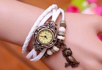 relógios pulseira de coruja venda por atacado-Coruja pulseira de couro relógios de pulso pulseira de couro retro trançado pulseira de couro retro relógio coruja pulseira de couro relógios de pulso
