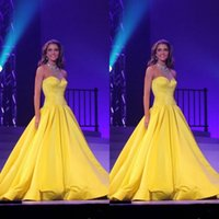 Wholesale Cheap Bright Dresses - Latest 2017 Cheap Pageant Dresses for Women Shiny Beaded Halter Neck Drop Waist Puffy A Line Sweep Train Bright Yellow Satin Pageant Gowns