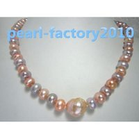 "Wholesale South Sea Pearls Baroque - baroque 18"" AAA 9-8MM SOUTH SEA NATURAL pink purple PEARL NECKLACE 14K CLASP"
