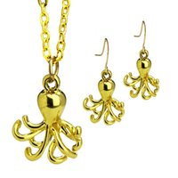 Wholesale Octopus Jewelry Earrings - Gold Plated Octopus Pendant Necklace Charm Earrings Jewelry Set Trendy Retro Animal Choker Necklace Wholesale