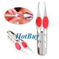 Wholesale Manual Tools - LED Eyebrow Tweezer Mini Light Eyelash Removal Tweezer Clip Make Up Beauty Tool #3866