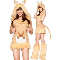 Wholesale Temptations Cat - High quality Hairy kangaroo cat girl game uniform temptation Halloween games Christmas plush uniforms cosplay costume Free Shipping