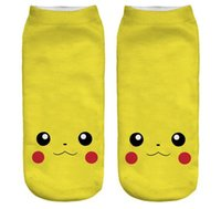 2016 3D Grafik Poke Ball GO Gym Team kurze Socken Unisex Pikachu Team valor Polyester Baumwollsocken Mix Auftrag