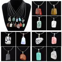 Wholesale red jade necklaces pendants for sale - Group buy 2017 Hot sale Stone necklace natural stone pendant irregular three dimensional geometric shape jade necklace as gift A0115