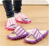 Barato Limpeza De Pó-Poliéster Microfiber Solid Dust Cleaner Limpeza Mop Slipper Casa Banheiro Floor Shoes Cover Lazy Tool Home Supplies