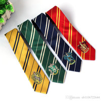 Wholesale orange skinny ties - Tie Harry Potter Ties Necktie Gryffindor Slytherin Ravenclaw Costume Accessory Tie with Badge Cosplay Gift for men children