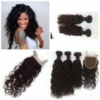 Wholesale Top Hair Hairpieces - 4Pcs Lot Cheap Brazilian Human Hair 3 Way Part Lace Top Closure with 3 Bundles water wave Unprocessed Hair Weave Extensions Hairpiece G-EASY