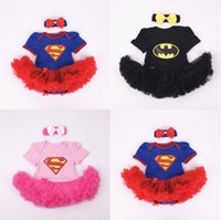 Wholesale Wholesale Character Onesies - Batman Superman Rompers Newborn Onesies TuTu Dress Superhero Toddler Outfit Infant Outwear Cartoon Cotton Baby Romper Baby One-Piece