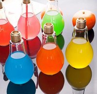 ingrosso vasi di frutta-Creativo accattivante Lampadina Forma Tè Succo di frutta Bere Bottiglia Tazza Fiore di vetro Vaso Home Office Desk Decorazione