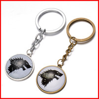 Wholesale Wholesale Wolf Keychain - Song of Ice and Fire Game of thrones House Stark wolf keychain cabochon Time gemstone key ring keyring men women handbag hangs 240342