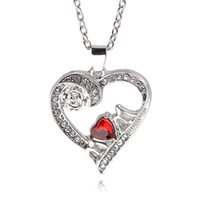 Wholesale Cheap Silver Chains Wholesale - Rose Flower Crystal Rhinestone Mom Heart Pendant Cheap Necklace For Women statement jewelry high quality mother's day gift drop shiping
