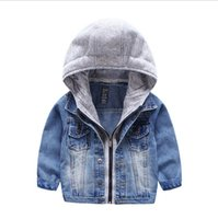 Wholesale Wholesale Canvas Cowboy Hats - Baby Boys Girls Jeans Denim Jackets Hoody Cardigan Cowboy Coat Kids Children Top Clothes with Hat