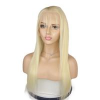 12 inç dantel ön peruk toptan satış-613 Sarışın Tam Dantel İnsan Saç Peruk Bebek Saçlı Düz Brezilyalı Bakire Saç Doğal Saç Çizgisi Dantel Ön Peruk 10-26 inç