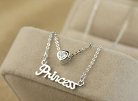Wholesale rhinestone princess pendant resale online - Lady Letter Princess Necklaces Korea Style Crystal Love Pendant Layer Chains Rose Gold Plated Charm Necklace Jewelry Christmas Gift