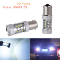 Wholesale H16 Led Light - 2pcs 80W White 1156 BA15S P21W 3030 16SMD LED Bulbs Car Backup Reverse Signal Light CLT_108
