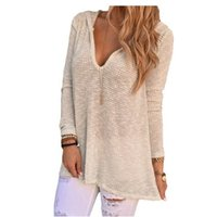 Wholesale Baggy T Shirts Womens - Wholesale-Hollow Out T Shirt Women Baggy Fit V Neck Hooded Knitwear Pullover Sexy Womens Tops T-shirt Tee Shirt Femme Camisetas Mujer 10