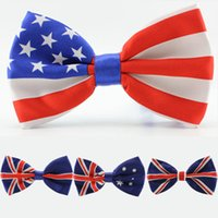 Wholesale Usa Ties - men bow tie American Flag necktie USA Union Jack British flag bow tie Australian neck tie 4 designs in stock fast shipment