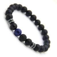 голубой тигр глаз бисер оптовых-Новый дизайн Мужские браслеты 8 мм матовый агат камень бусины тигровый глаз лаве камень и синие вены повезло браслеты