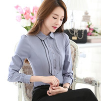Wholesale korean formal woman shirt - Fashion Korean Style Business Office Shirts Contrast Patchwork Long Sleeve Shirt Women Blouses Button Tops blusa feminina