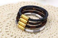 Wholesale Leather Bracelet Manufacturers - Manufacturers selling star with a plaid magnetic buckle leather bracelet titanium Gewen leather bracelet lovers leather bracelet