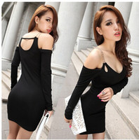 Wholesale Cheap Low Cut Dresses - Cheap new V collar low cut sexy Strapless chain club long sleeve slim slim package hip dress tide LYQ068