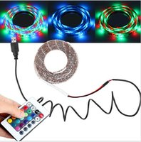 Wholesale Led Stripe Remote Rgb - USB Cable DC5v 3528 RGB led strip light PCB 60led m stripe tape lamp + Remote Controller USB Mood Light for TV Background
