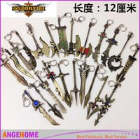 Wholesale Draven Keychain - Heroes Alliance Zinc Alloy keychains Ring LOL The Glorious Executioner Draven Keychains Weapon Metal Keychain key holder keyring