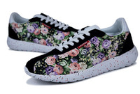 Wholesale Canvas Flower Korean Shoes - New Arrival Four Seasons Men Sport Shoe Korean Style Girl Light Flower Printing Casual Canvas Running Shoes