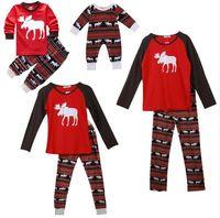 conjuntos de ropa de padre hijo al por mayor-Pijamas de navidad Ropa familiar a juego Pijamas de navidad Conjuntos de ropa Madre e hija Padre Hijo Ropa a juego Navidad Elk Homewears