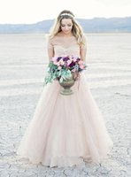 Wholesale Colored Cheap Wedding Dresses - Romantic off the shoulder light pink colored sweep train fall wedding dress beach bridal dress custom made cheap wedding gown