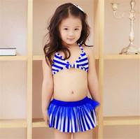 Wholesale Toddler Two Piece Bikini - 2016 Kids Two pieces Bikini Girls Swimwear Children Swimsuit cute striped Swimming suit Baby Bathing suit Toddler Summer Clothing Gifts new