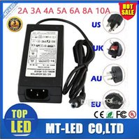 Wholesale Led Ac Adapter 12v - led switching power supply 110-240V AC DC 12V 2A 3A 4A 5A 6A 8A 10A 12.5A Led Strip light 5050 3528 transformer adapter Christmas lighting