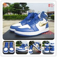 vente en gros de chaussures rétro 1 HIGH OLYMPIC Basketball Chaussures HIGH OG PREMIUM ESSENTIALS Chaussures de sport Royal Blue Metallic Gold Coin Athlétisme blanc
